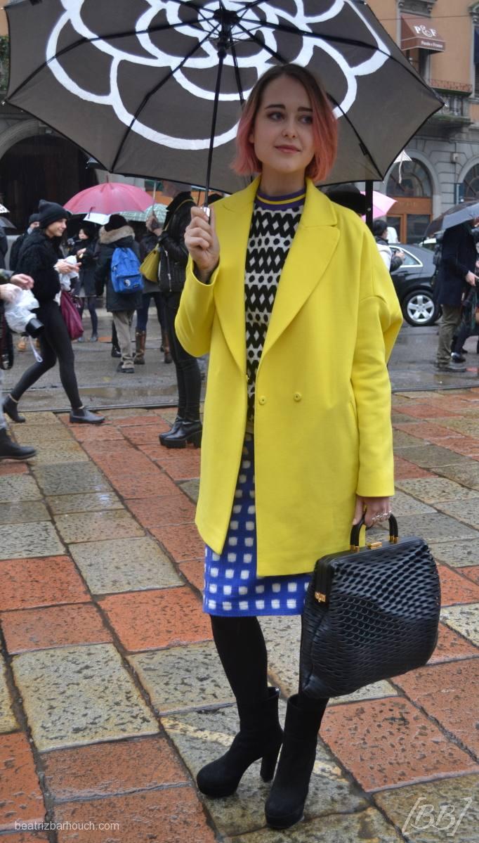 #yellow #coat #umbrella