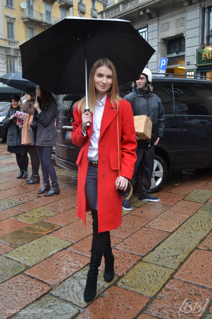 #coat #red #boots #yslbag