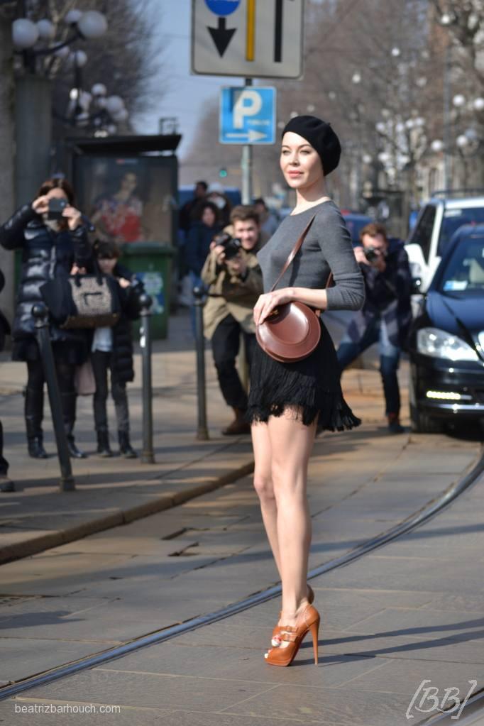 A designer russa Ulyana Sergeenko no desfile do Roberto Cavalli.