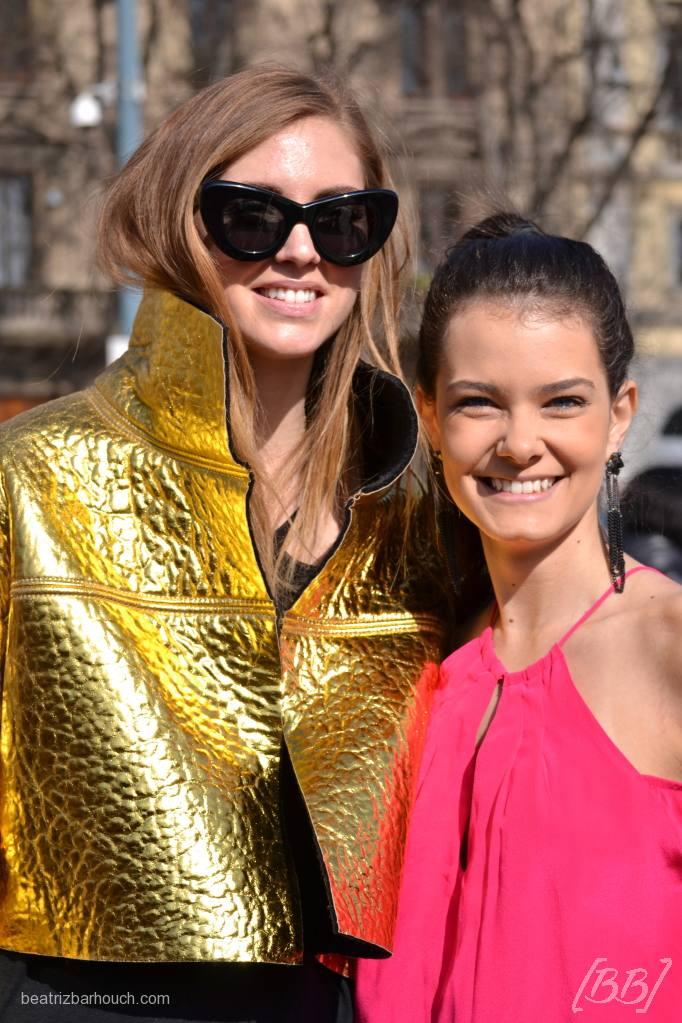 Mais uma eu e Chiara Ferragni no desfile do Roberto Cavalli.