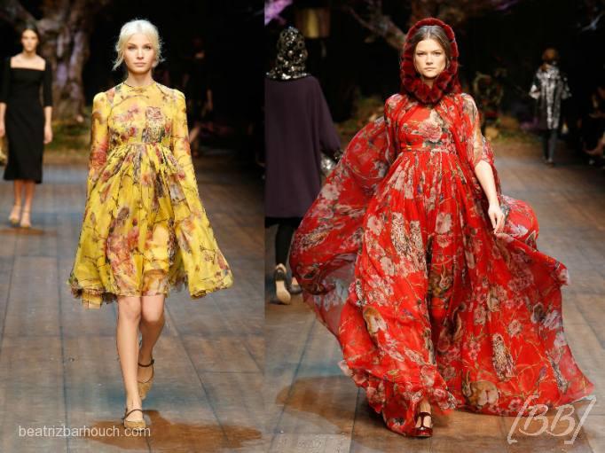 Vestidos fluidos com estampas florais e elementos da floresta e linha do busto marcada com na era medieval.