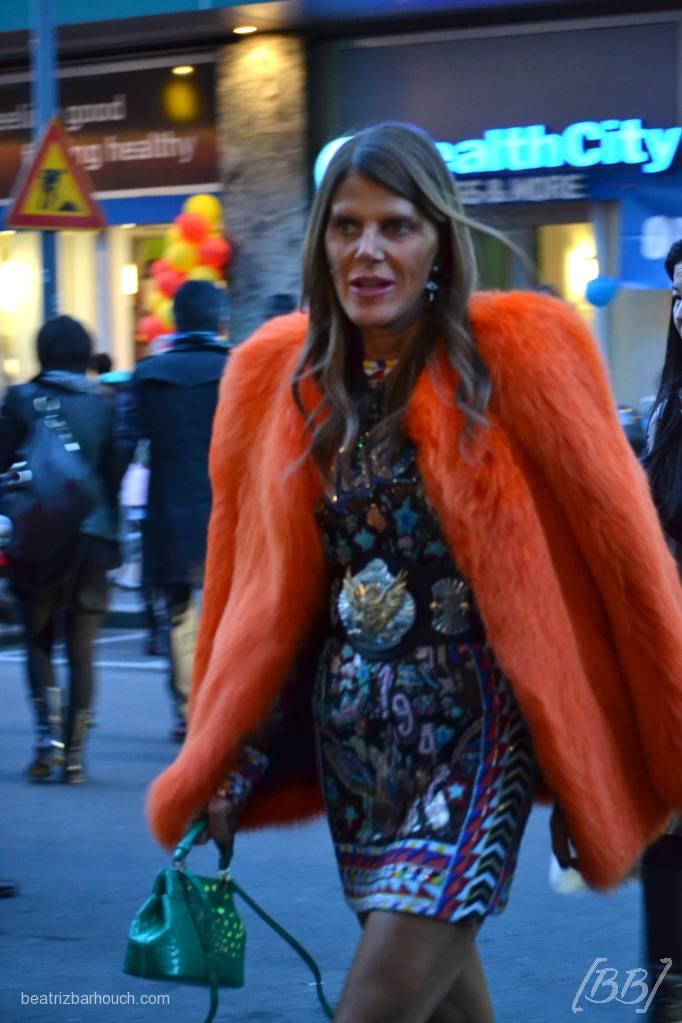 Anna Dello Russo chegando para o desfile do Emilio Pucci.