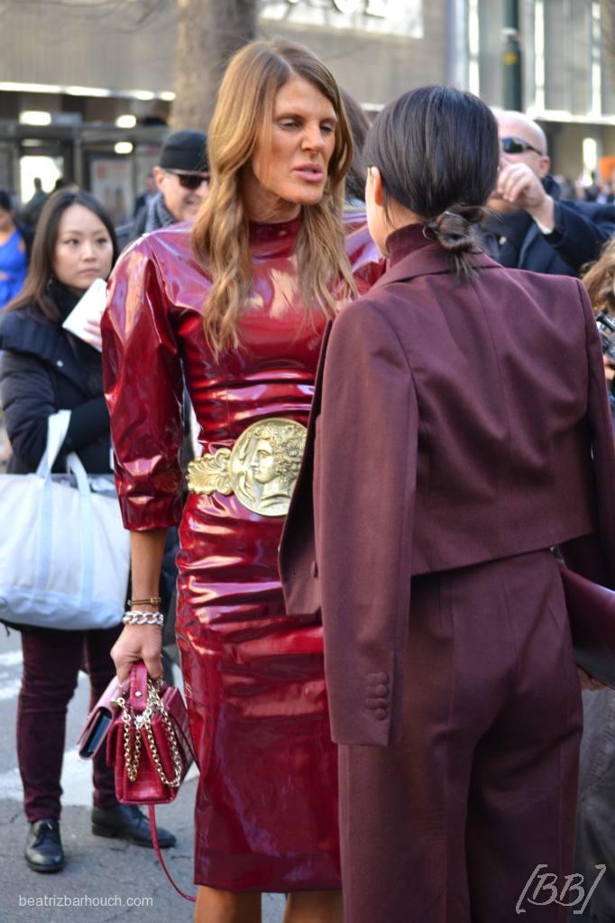 Anna Dello Russo e Miroslava Duma após desfile da Dolce&Gabbana.